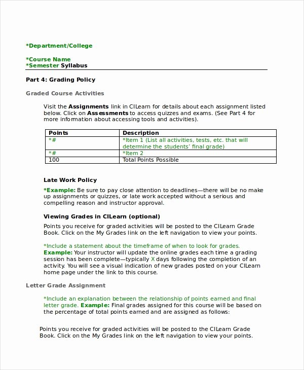 Training Course Outline Template Luxury Syllabus Template 7 Free Word Documents Download
