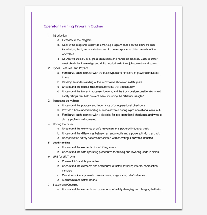 Training Course Outline Template Luxury Training Program Outline Example for Word