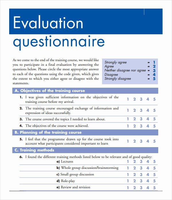 Training Evaluation forms Template Elegant Free 15 Sample Training Evaluation forms In Pdf