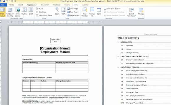 Training Manual Template Word Best Of Employment Handbook Template for Word