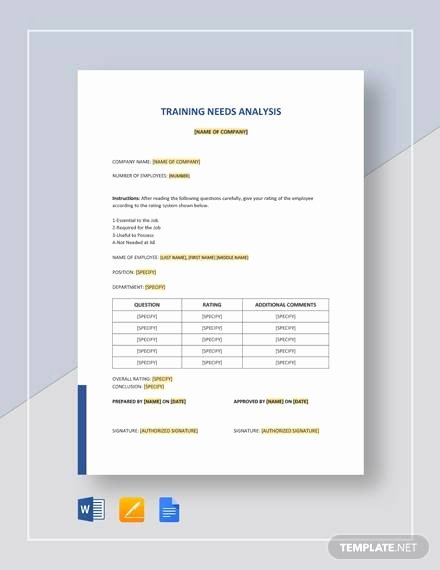 Training Needs Analysis Template Awesome Free 13 Sample Training Needs Analysis Templates In