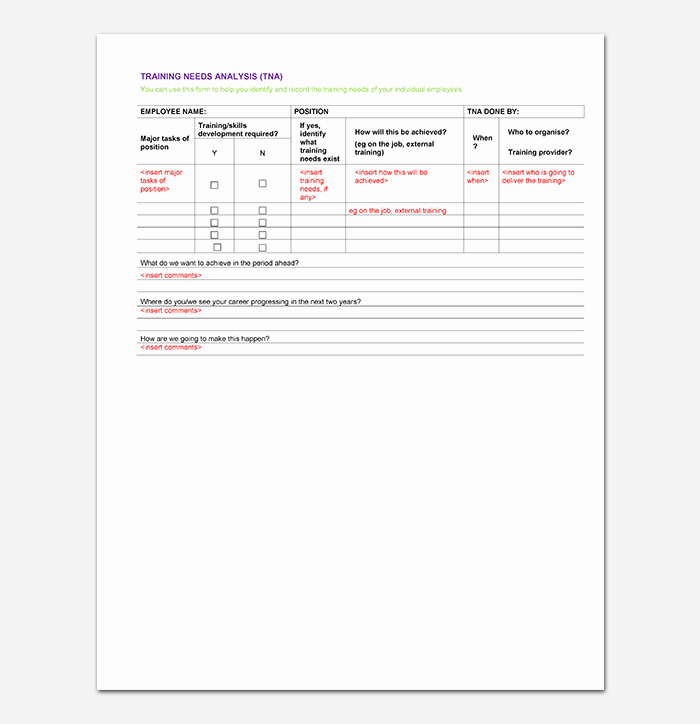 Training Needs Analysis Template Awesome Needs Analysis Template 20 for Word Excel Pdf