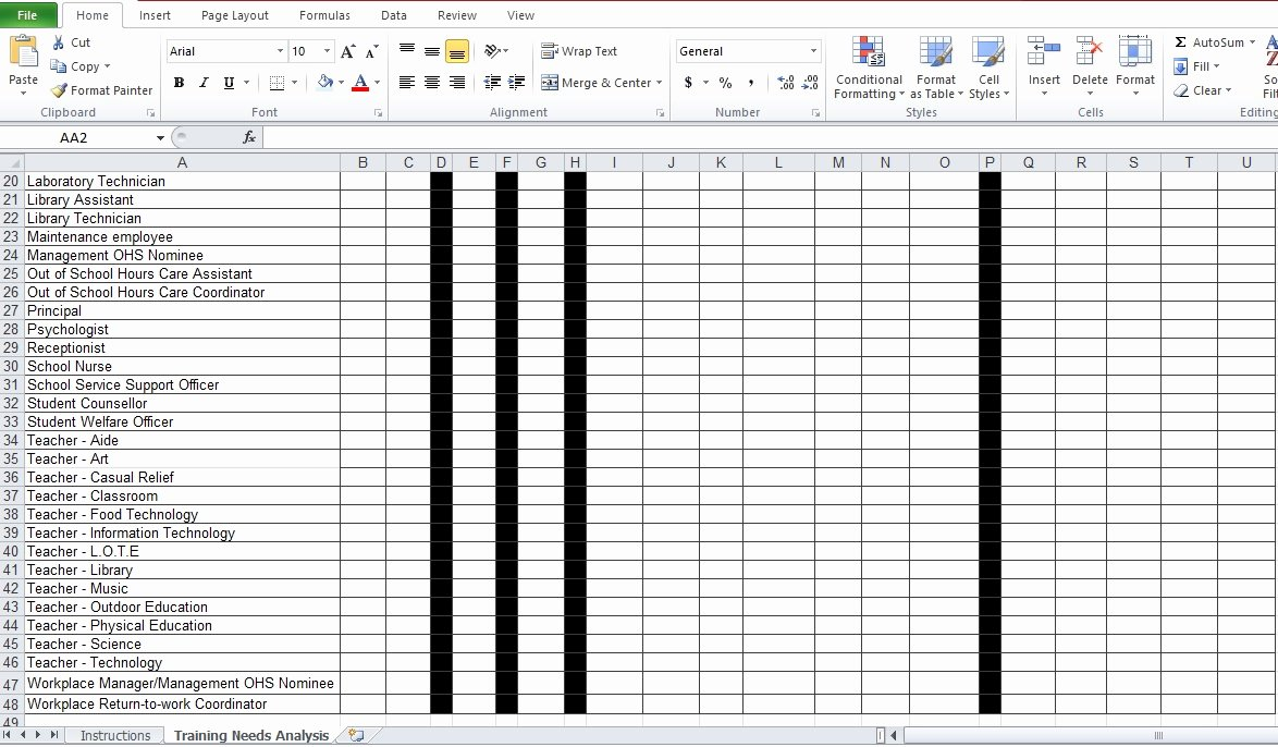 Training Needs Analysis Template Awesome Training Needs Analysis Template Free Excel Tmp