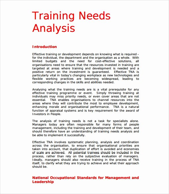 Training Needs Analysis Template Best Of Free 13 Sample Training Needs Analysis Templates In