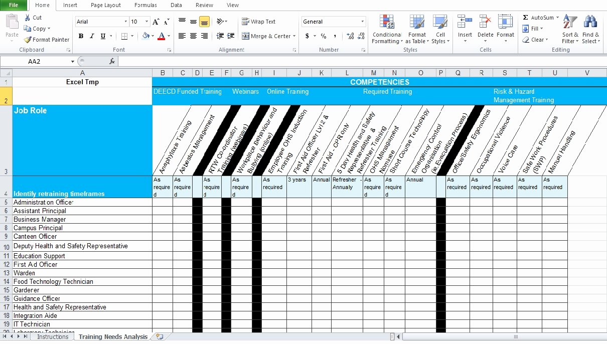 Training Needs Analysis Template Elegant Training Needs Analysis Template Free Excel Tmp