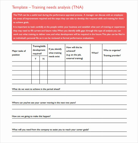Training Needs Analysis Template Fresh Free 10 Training Needs assessment Samples In Example format
