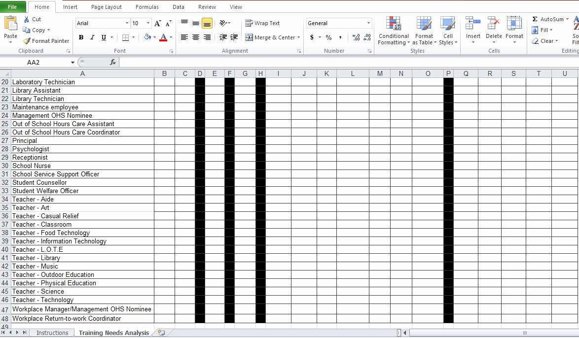 Training Needs Analysis Template Unique Training Needs Analysis Template Free Excel Tmp