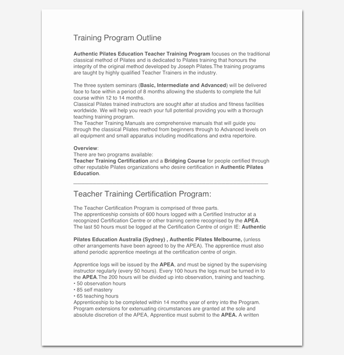 Training Outline Template Word Awesome Training Program Outline Template 19 for Word & Pdf