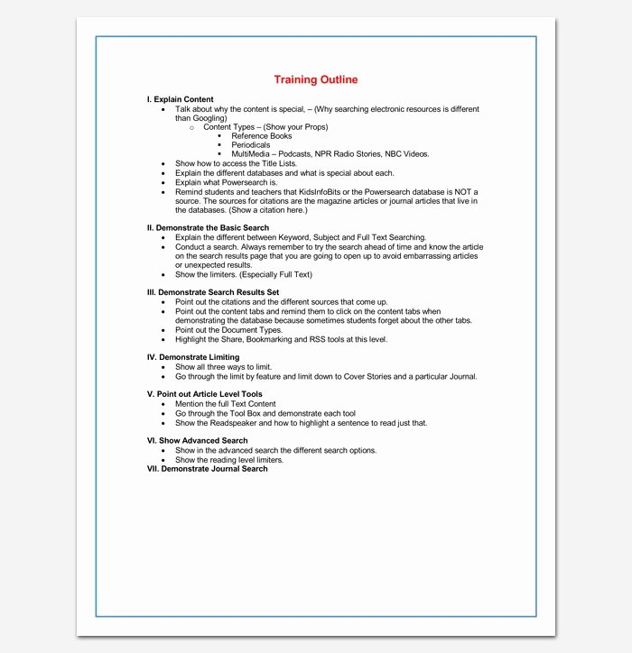Training Outline Template Word Best Of Training Course Outline Template for Word