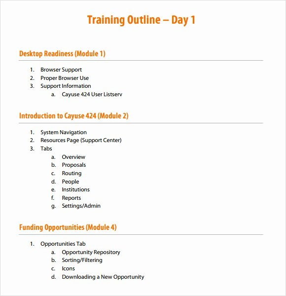 Training Outline Template Word Best Of Training Outline Template 9 Download Free Documents In