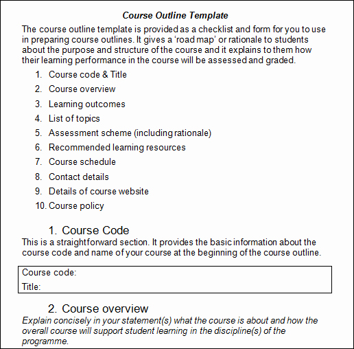 Training Outline Template Word Inspirational Coe B 2 2 Course Outline Template