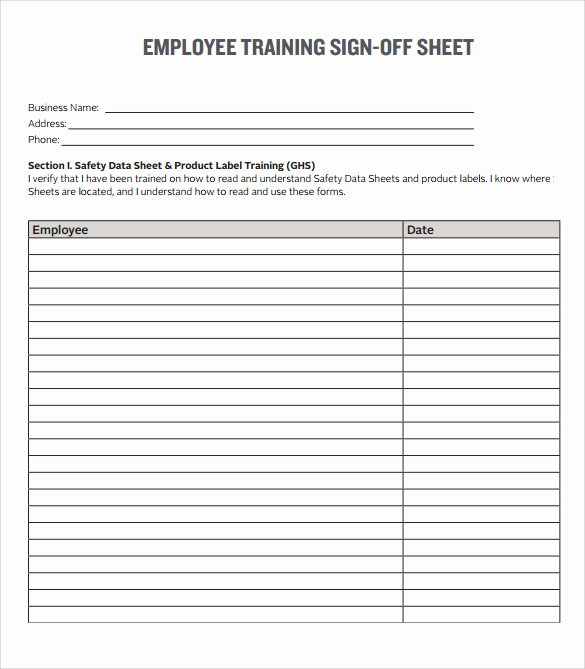 Training Sign Off Sheet Template Awesome Sample Training Sign In Sheet 17 Documents In Pdf