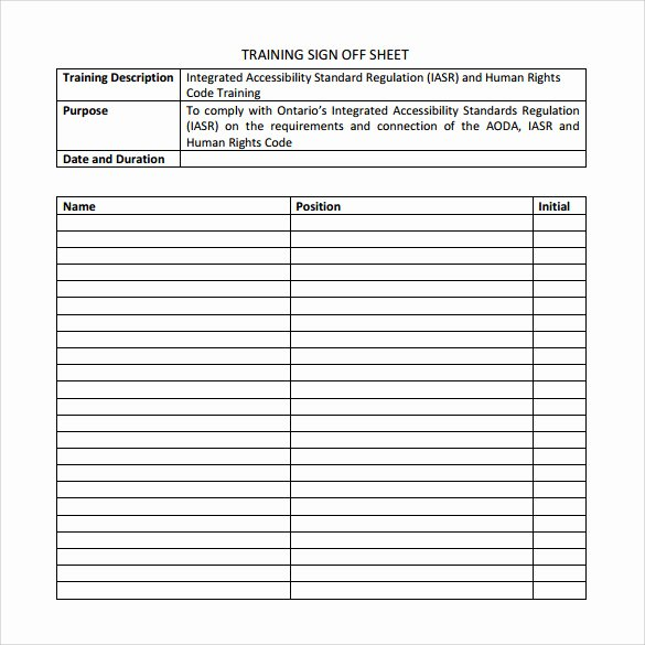 Training Sign Off Sheet Template Elegant Sample Training Sign In Sheet 13 Examples & format