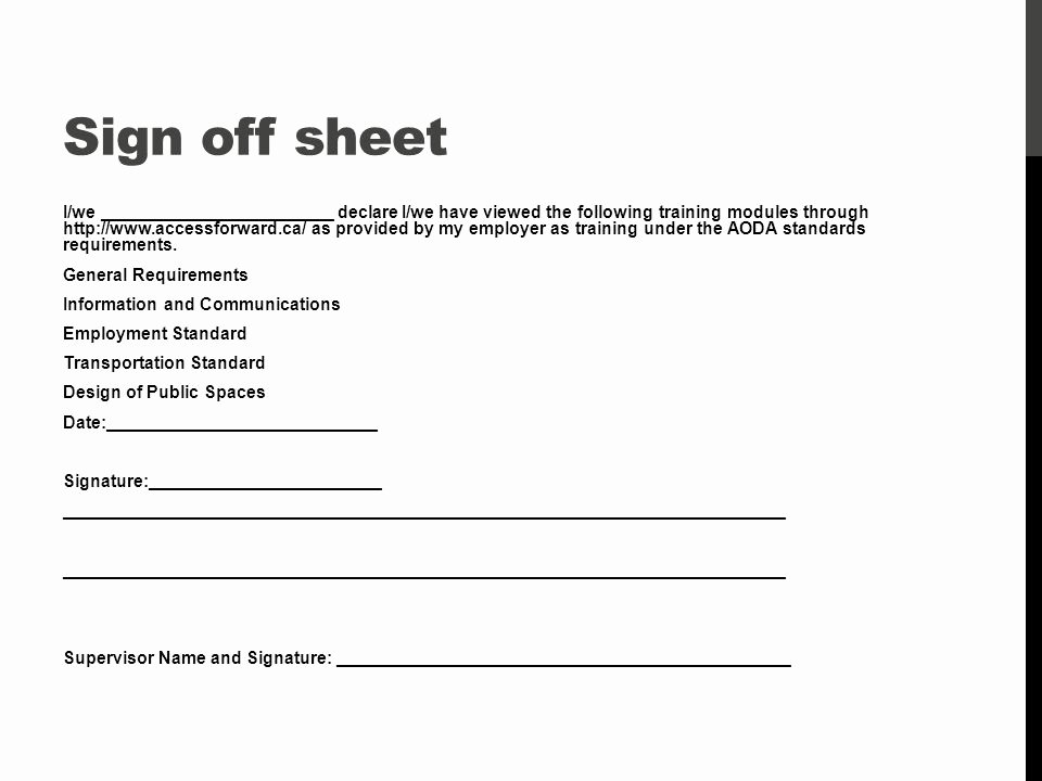 Training Sign Off Sheet Template Fresh Accessibility Training Ppt Video Online