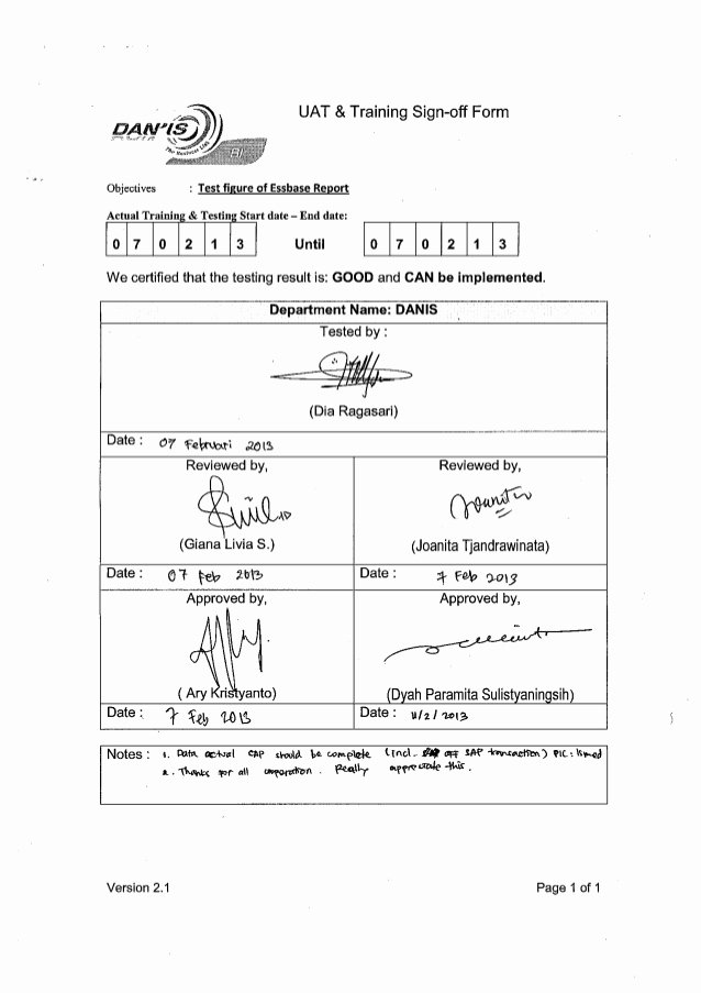 Training Sign Off Sheet Templates Awesome Uat Sign Off Document Template – Minak