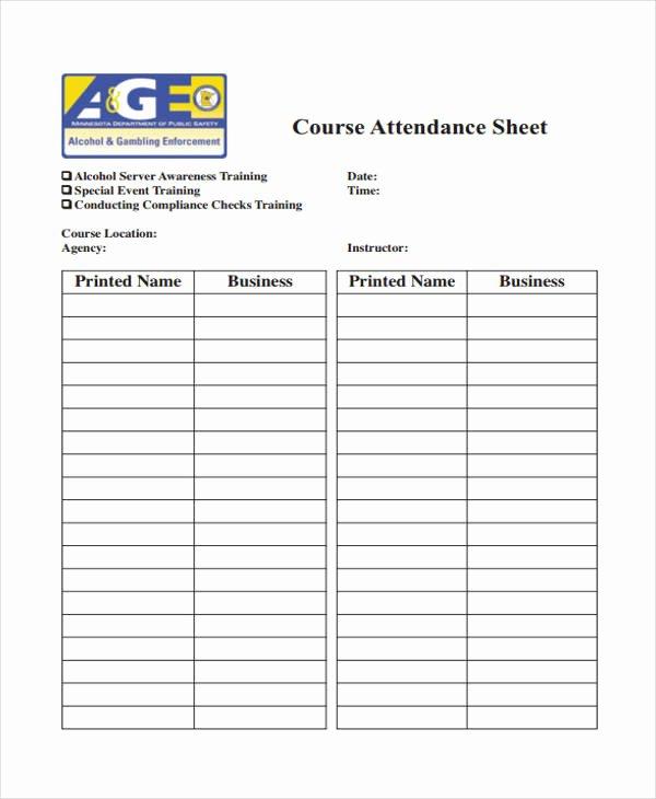 Training Sign Off Sheet Templates Beautiful 8 Training Sheet Templates Free Sample Example format