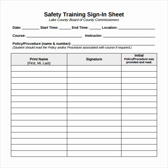 Training Sign Off Sheet Templates Elegant Sample Training Sign In Sheet 13 Examples & format
