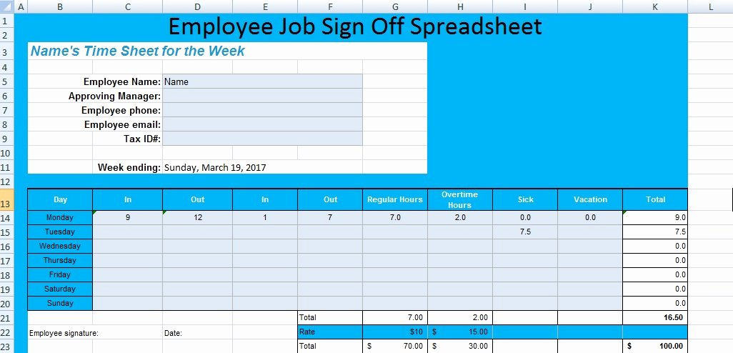 Training Sign Off Sheet Templates Fresh Get Employee Job Sign F Spreadsheet Template Excel