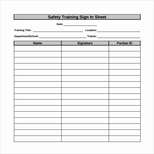 Training Sign Off Sheet Templates New Sample Training Sign In Sheet 13 Examples & format