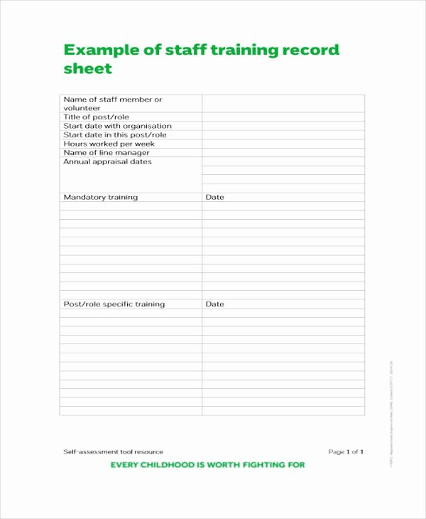 Training Sign Off Sheet Templates New Training attendance Record Template