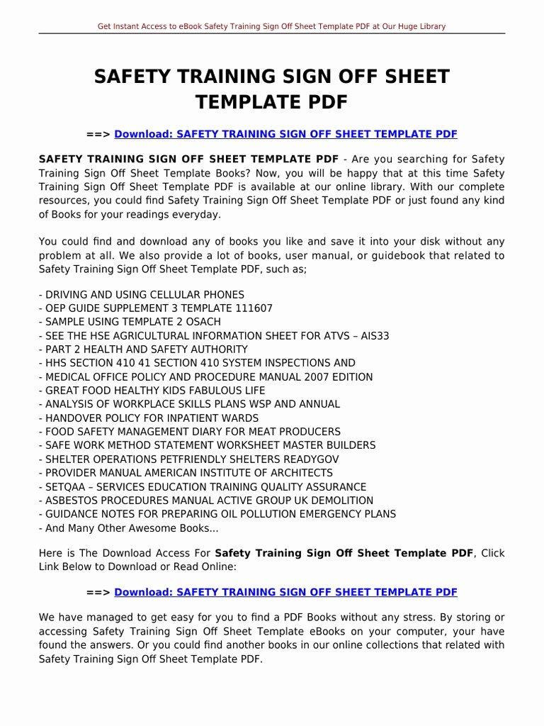 Training Sign Off Sheet Templates Unique Safety Training Sign F Sheet Template