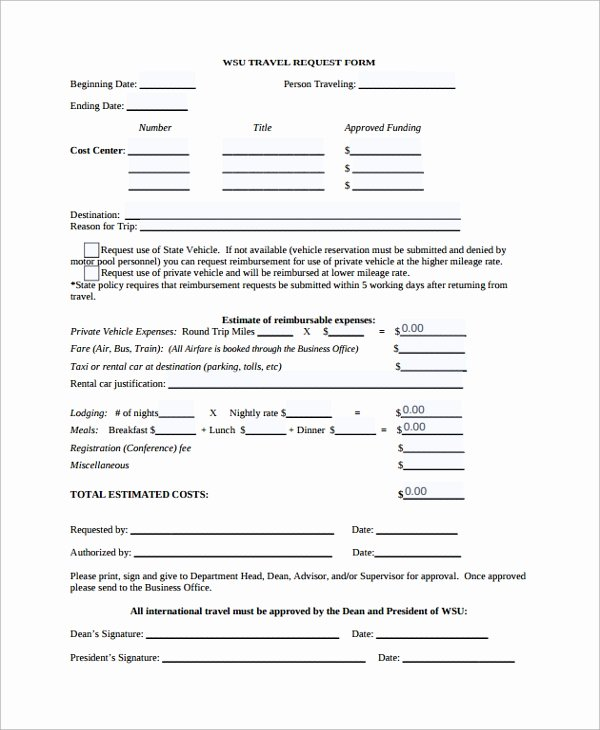 Travel Request form Template Awesome Sample Travel Request form 9 Free Documents Download In