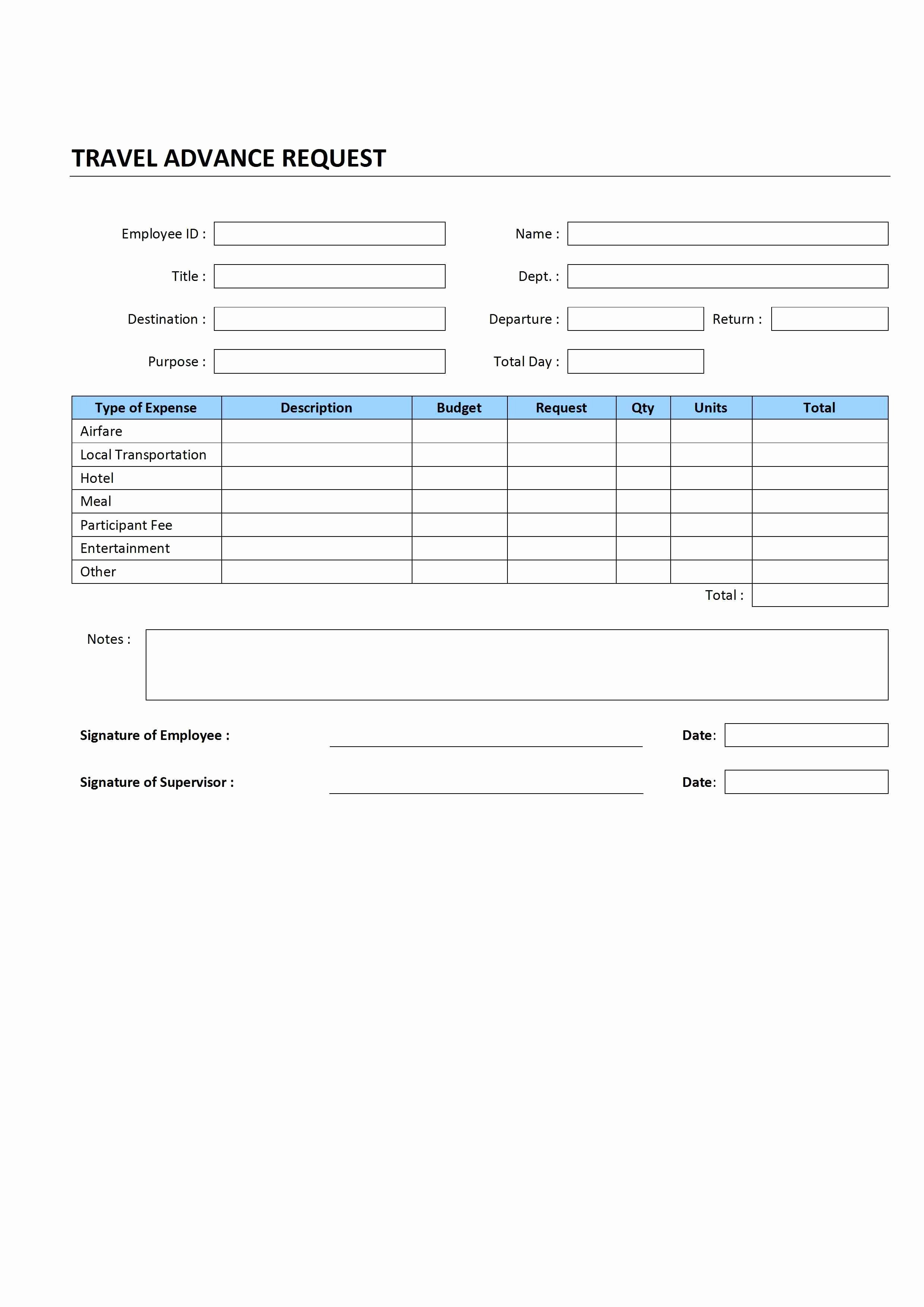 Travel Request form Template Awesome Travel Advance Request