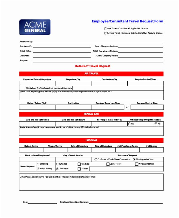 Travel Request form Template Best Of Travel Request form Example