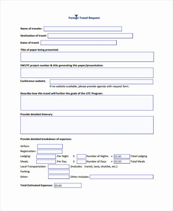 Travel Request form Template Fresh Free 29 Travel form formats