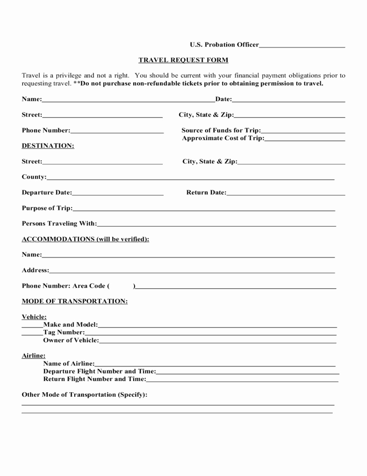 Travel Request form Template Lovely 5 Travel Request forms – Word Templates