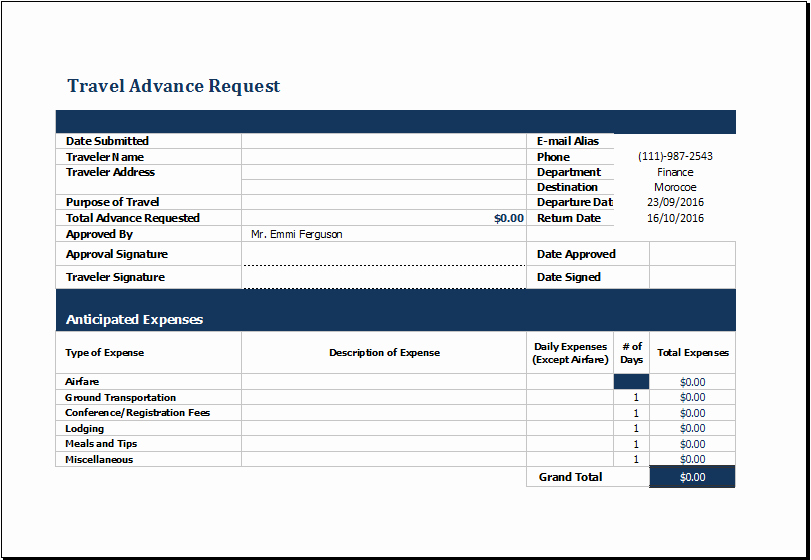 Travel Request form Template Lovely Ms Excel Travel Advance Request form Template