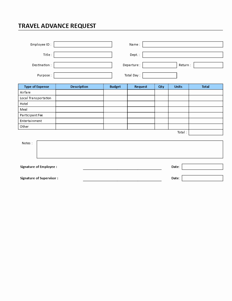 Travel Request form Template Luxury Travel Advance Request