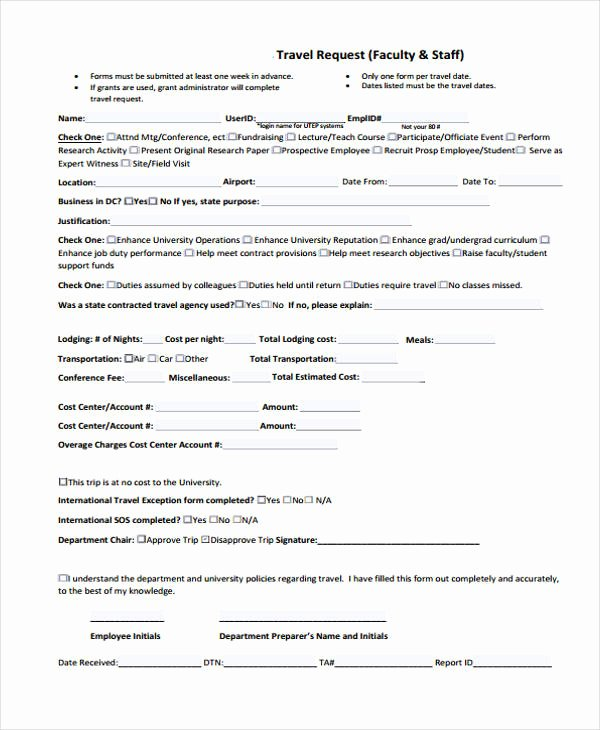 Travel Request form Template Unique Free 33 Travel Request form In Templates