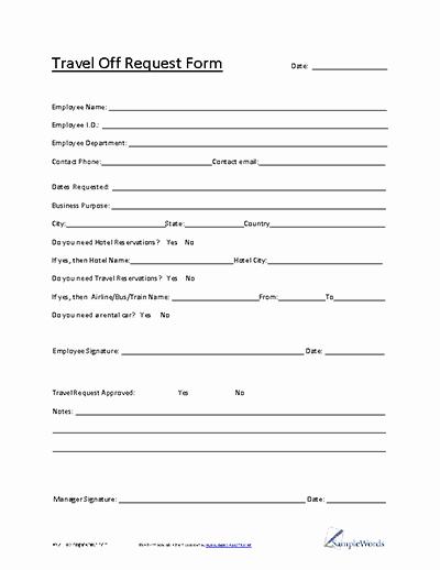 Travel Request form Template Unique Travel Request form