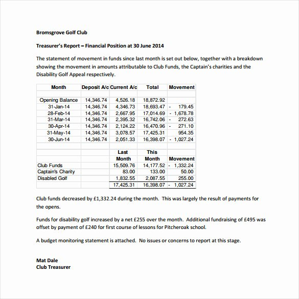 Treasurer Report Template Excel Inspirational 18 Treasurer Report Templates Pdf Word