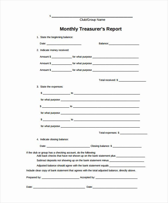 Treasurer Report Template Excel Luxury Treasurer Report Template 20 Free Sample Example