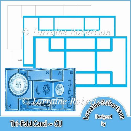 Tri Fold Card Templates Beautiful Tri Fold Card Template Cu £2 00 Instant Card Making