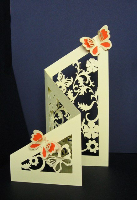 Tri Fold Card Templates Luxury Tri Fold Floral & butterfly Cut Out Card Template