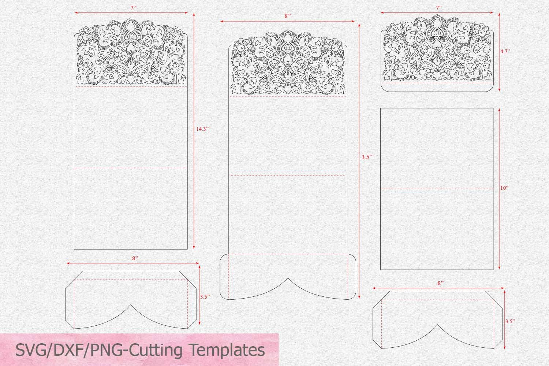 Tri Fold Card Templates New Tri Fold Lace Pocket Envelope Wedding Invitation Laser Cut