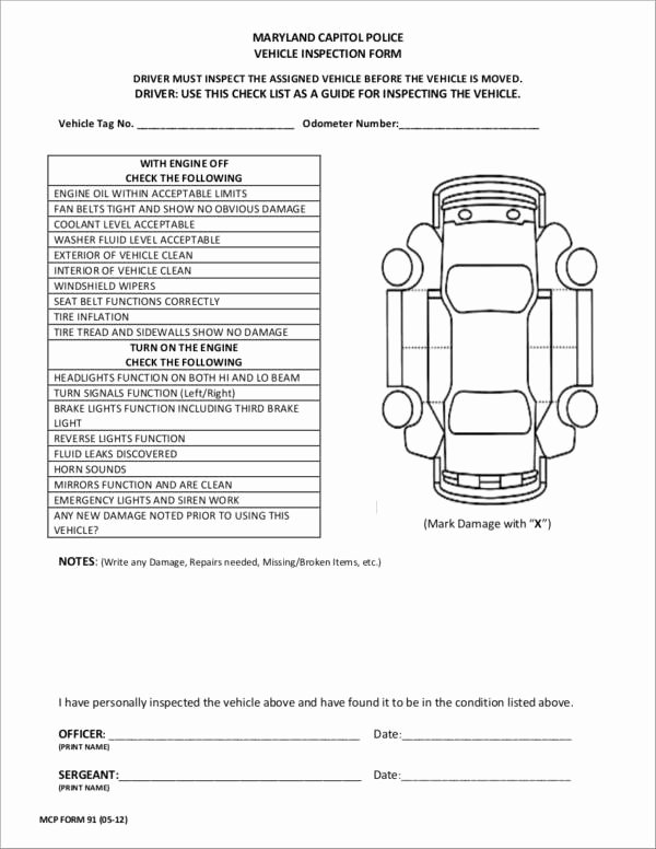 Truck Inspection form Template Beautiful Free 21 Vehicle Checklist Samples & Templates In Pdf