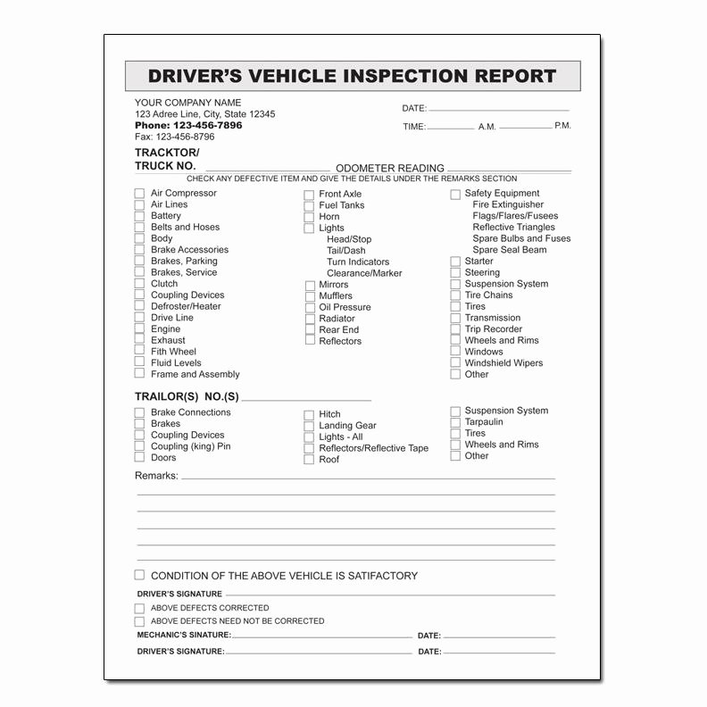 Truck Inspection form Template Best Of Auto Repair Invoice Custom Carbonless Printing