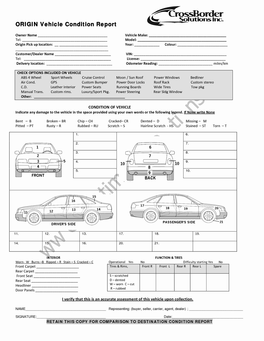 Truck Inspection form Template Best Of Vehicle Condition Report Templates Word Excel Samples