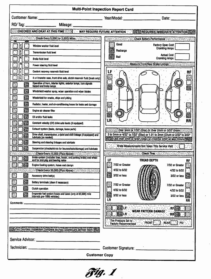 Truck Inspection form Template New Multi Point Inspection Report Card as Re Mended by ford
