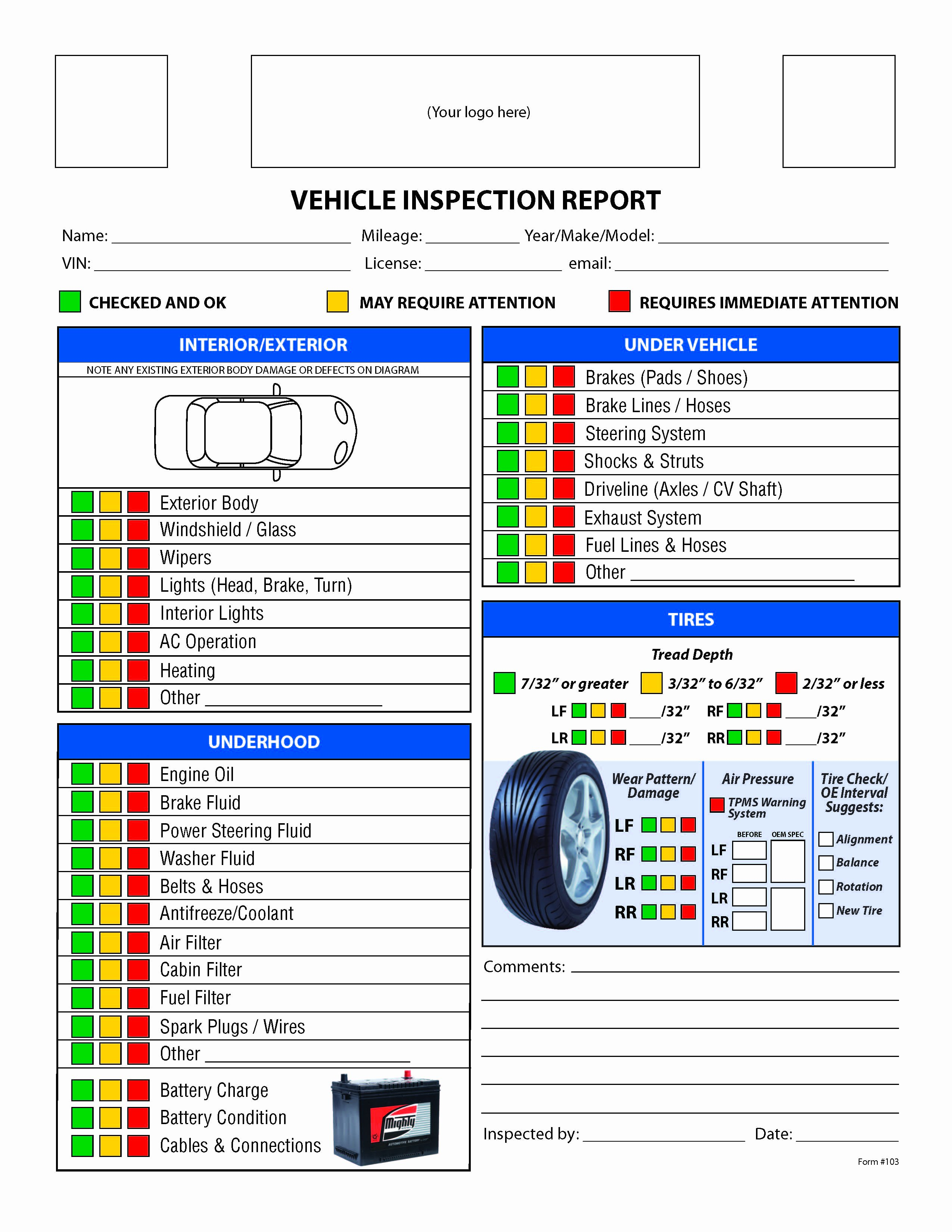 Truck Inspection form Template Unique Free Vehicle Inspection Checklist form