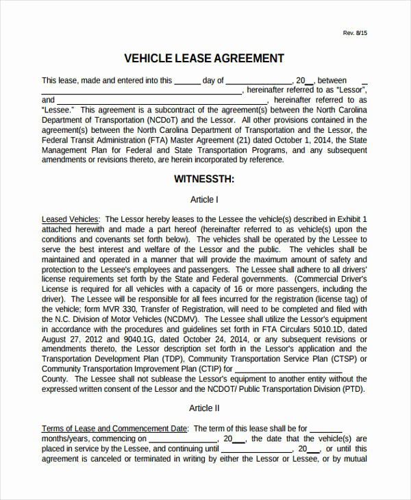 Truck Lease Agreement Template Awesome 32 Lease Agreement forms In Pdf