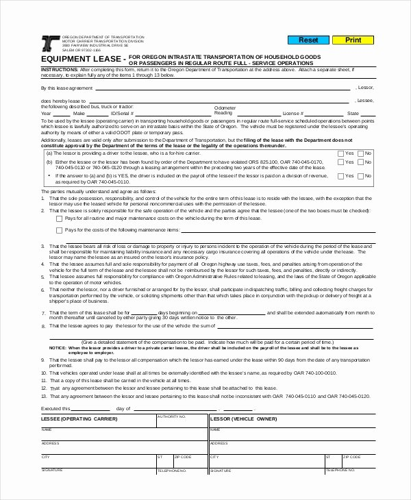 Truck Lease Agreement Template Best Of 14 Mercial Lease Agreements Word Pdf Pages