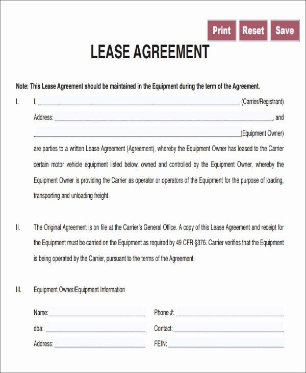 Truck Lease Agreement Template Elegant 8 Owner Operator Lease Agreement Sample Free Sample