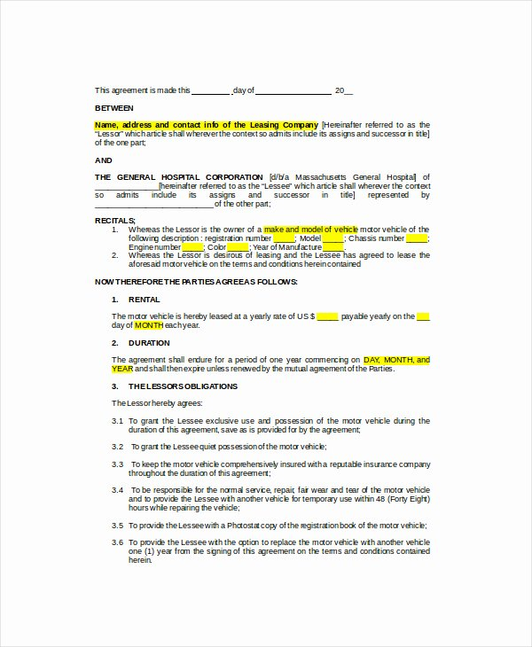 Truck Lease Agreement Template Elegant Vehicle Lease Agreement