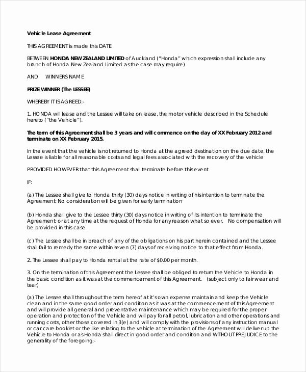 Truck Lease Agreement Template Inspirational 14 Vehicle Lease Agreement Templates Docs Word