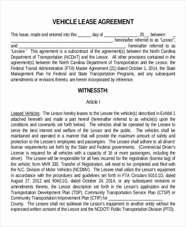 Truck Lease Agreement Template Inspirational Truck Lease Agreement Sample 11 Examples In Word Pdf